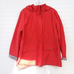 Lands' End Red Hooded Windbreaker Rain Jacket